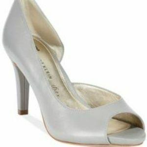 White open toe d'orsay heel